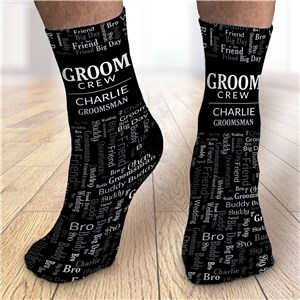 Groom Crew Word-Art Groomsmen Socks