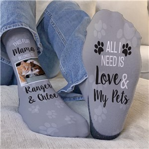 Personalized This Fur Mama Belongs To Crew Socks