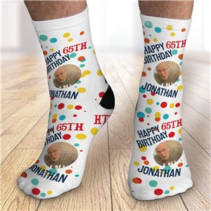 Personalized Happy Birthday Dots with Photo Crew Socks