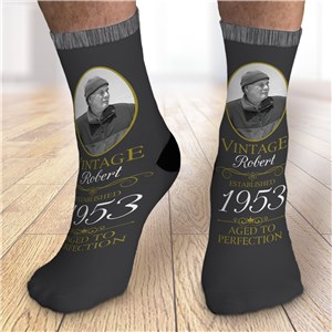 Personalized Aged to Perfection with Photo Crew Socks