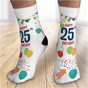 Personalized Happy Birthday Crew Socks with age