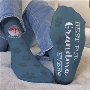 Personalized Best Fur Grandma with Photo Crew Socks