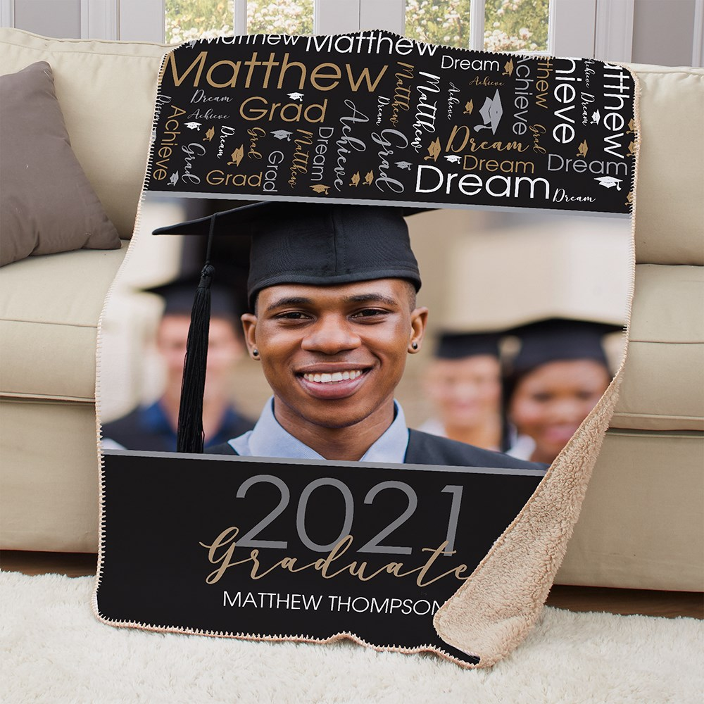 Personalized Grad Photo Word Art Sherpa Throw
