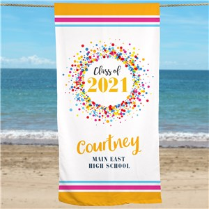 Personalized Class Of with Colorful Confetti Beach Towel
