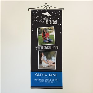 Personalized Class Of with 2 Photos Wall Hanging