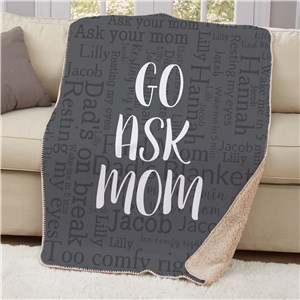 Personalized Go Ask Word Art Sherpa Blanket