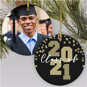 Personalized Confetti Class of Photo Round Graduation Ornament