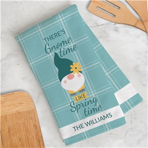 Personalized There's Gnome Time Dish Towel U17654125