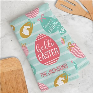 Personalized Hello Easter Egg Dish Towel U17656125