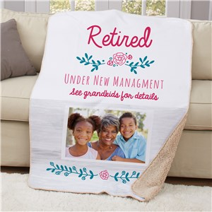Personalized Retired Under New Management 50x60 Sherpa Blanket U17757119