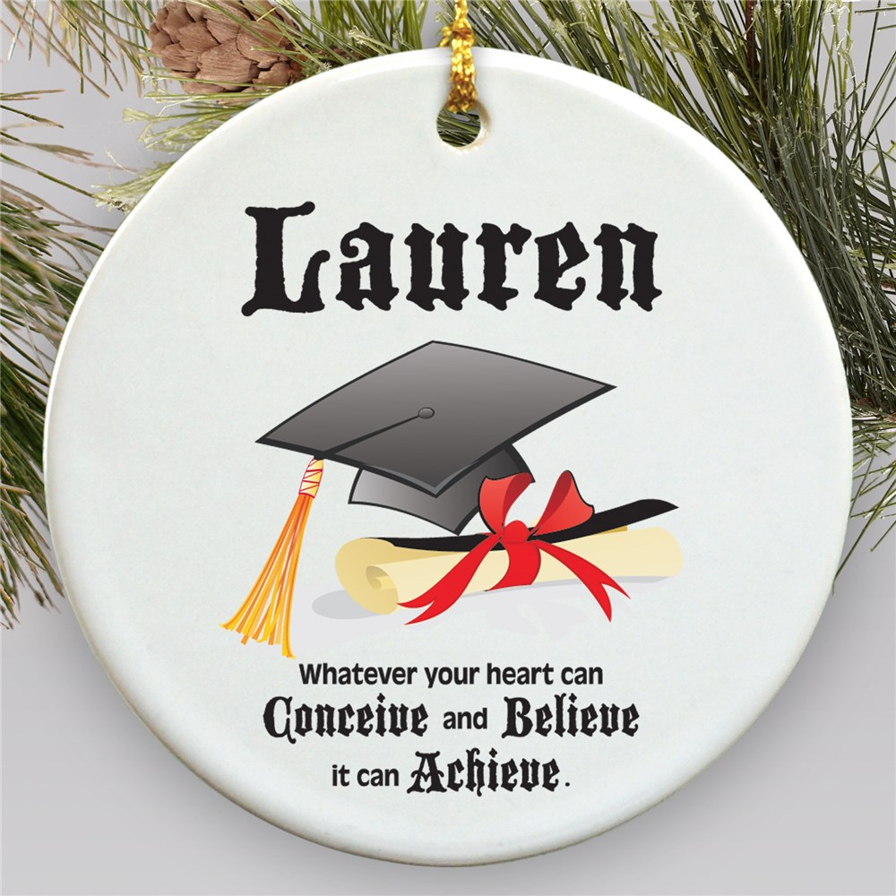 Personalized Ceramic Christmas Graduation Ornament | 2019 Graduation Keepsakes