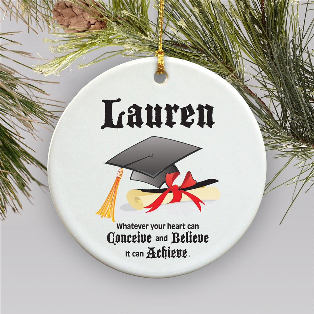 Personalized Ceramic Christmas Graduation Ornament | 2018 Graduation Keepsakes