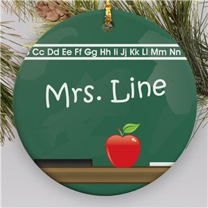 Chalkboard Personalized Ceramic Ornament | Teacher Ornaments