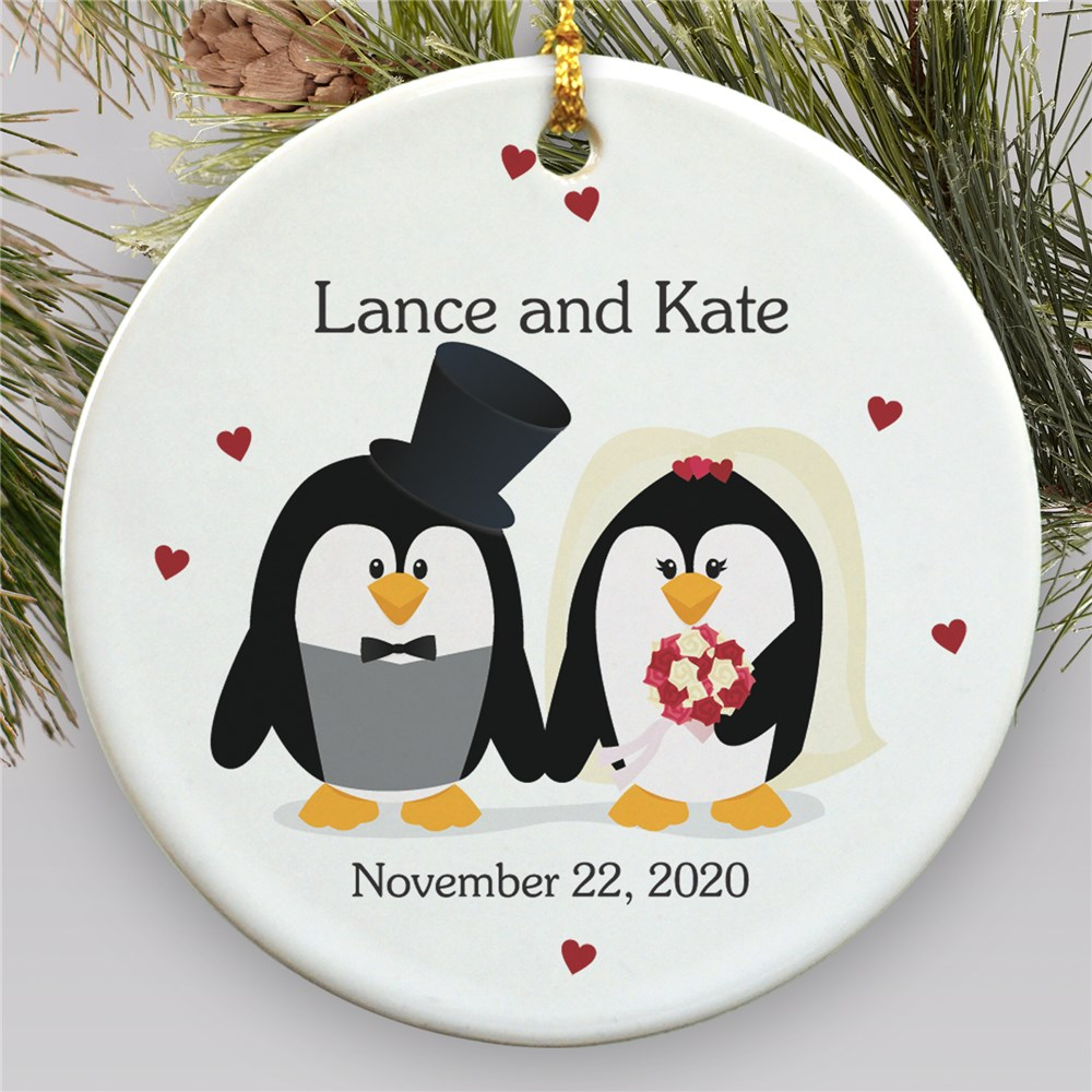 Personalized Ceramic Penguin Bride and Groom Ornament | Personalized Wedding Ornament