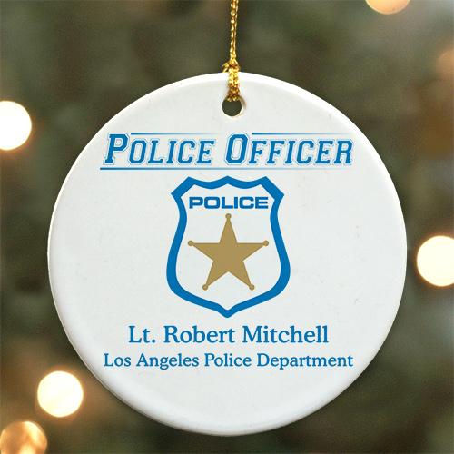 Personalized Police Officer Ceramic Ornament | Personalized Police Ornaments