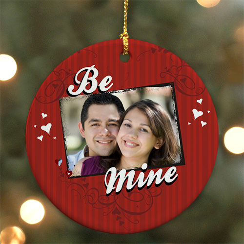 Personalized Ceramic Be Mine Photo Ornament | Personalized Couples Ornament