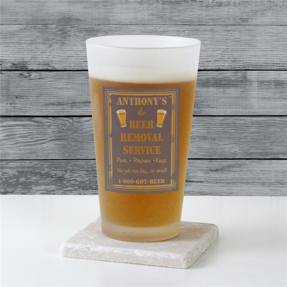 Personalized Beer Removal Frosted Pint Glass | Personalized Gifts for Him
