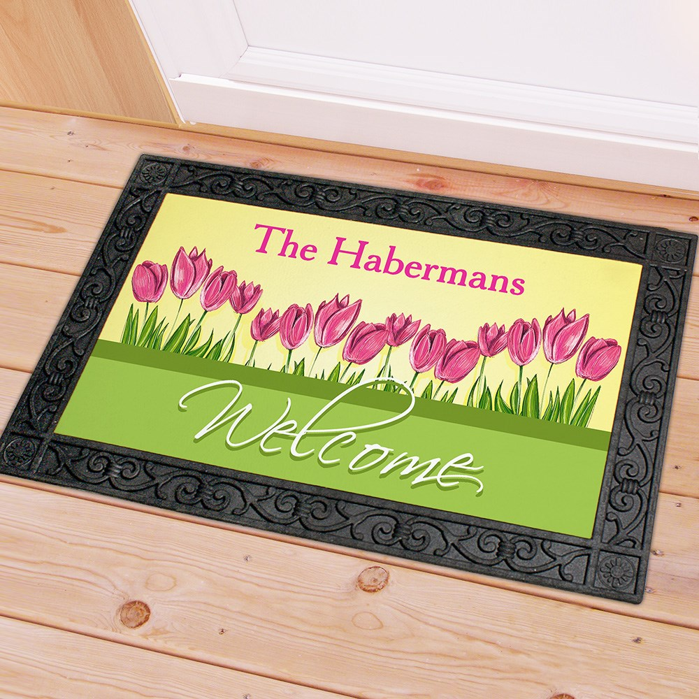 Personalized Spring Tulips Doormat | Custom Doormats
