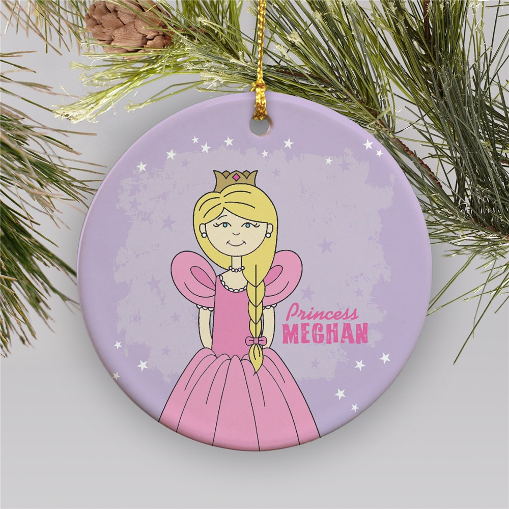 Princess Personalized Ornament | Ceramic | Kids Christmas Ornaments