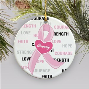 Hope and Love Breast Cancer Awareness Ceramic Christmas Ornament U366310