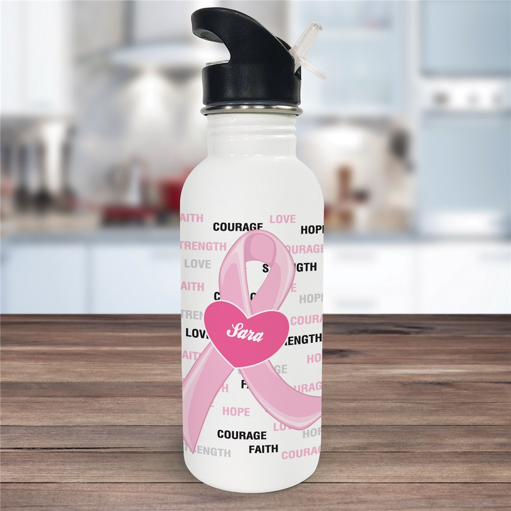 Hope and Love Breast Cancer Awareness Water Bottle U366320