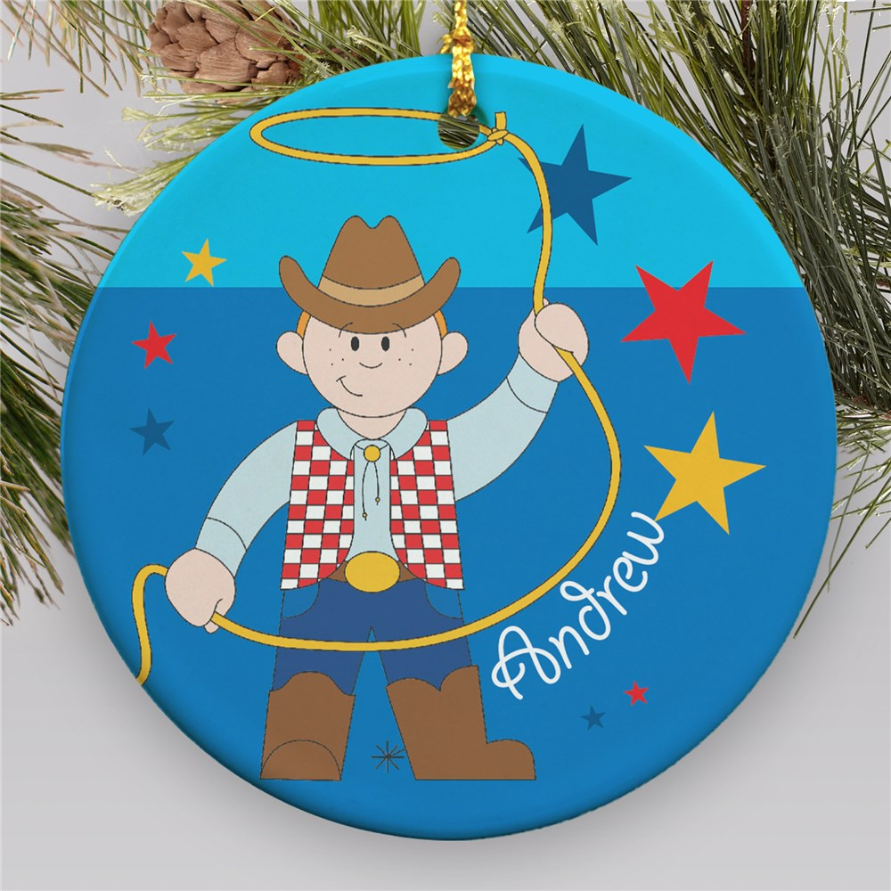 Personalized Cowboy Ornament | Ceramic | Personalized Christmas Ornament For Kids