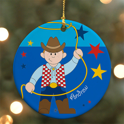 Personalized Ceramic Cowboy Ornament | Personalized Christmas Ornament For Kids