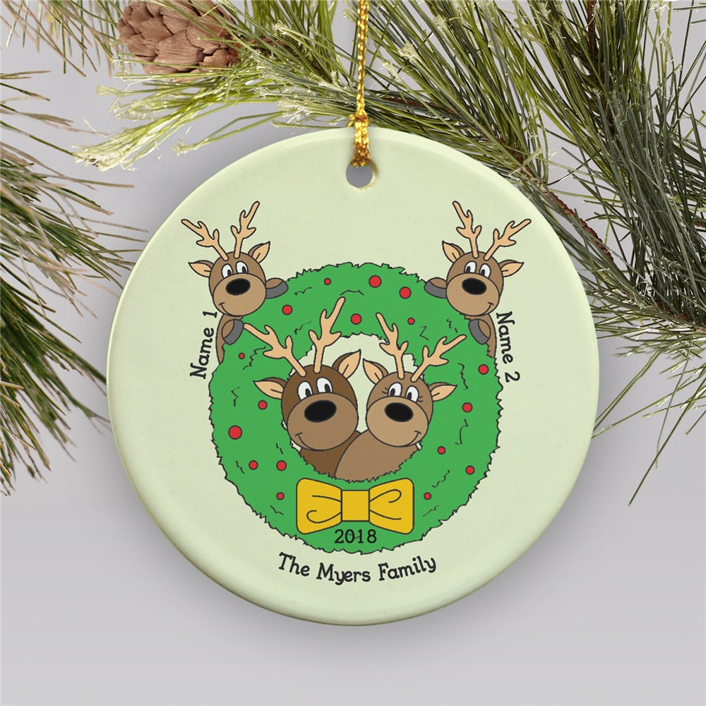 Personalized Deer Family Ceramic Ornament | Personalized Family Christmas Ornaments