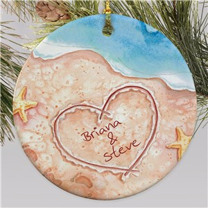Couples Beach Christmas Ornament | Personalized Couples Ornament