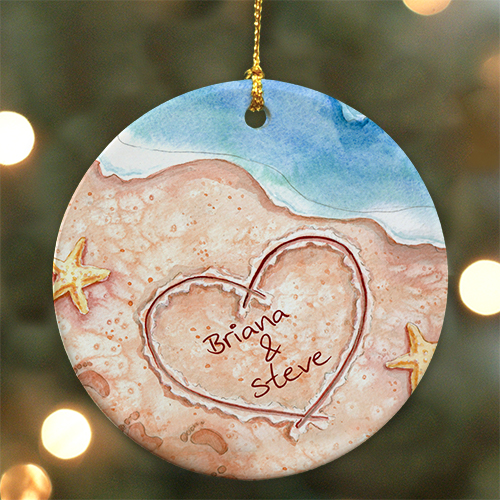 Shores of Love Personalized Ceramic Ornament | Personalized Couples Ornament