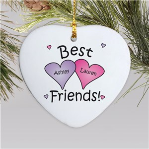 Personalized Best Friends Heart Ornament | Kids Christmas Ornaments