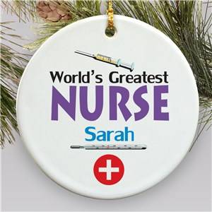 World's Greatest Nurse Personalized Ceramic Ornament | Personalized Nurse Ornaments