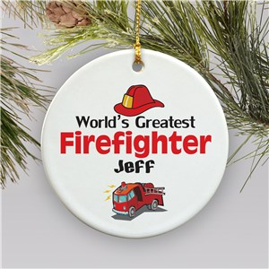 World's Greatest Firefighter Personalized Ceramic Ornament | Personalized Firefighter Ornaments