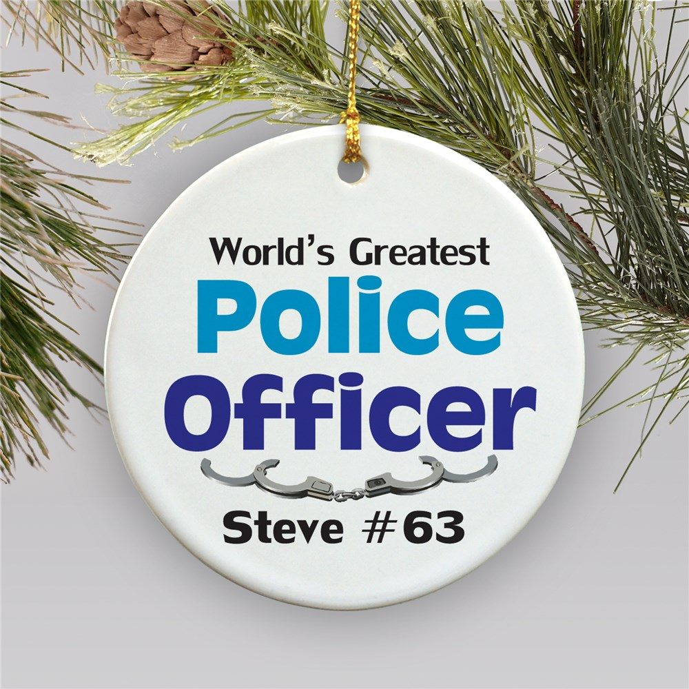 World's Greatest Police Officer Personalized Ceramic Ornament | Personalized Police Ornaments