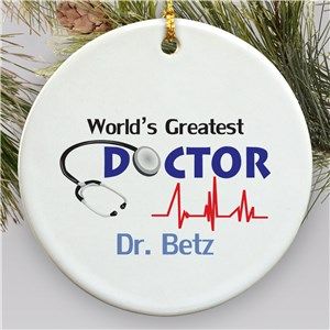 World's Greatest Doctor Personalized Ceramic Ornament | Personalized Doctor Ornament
