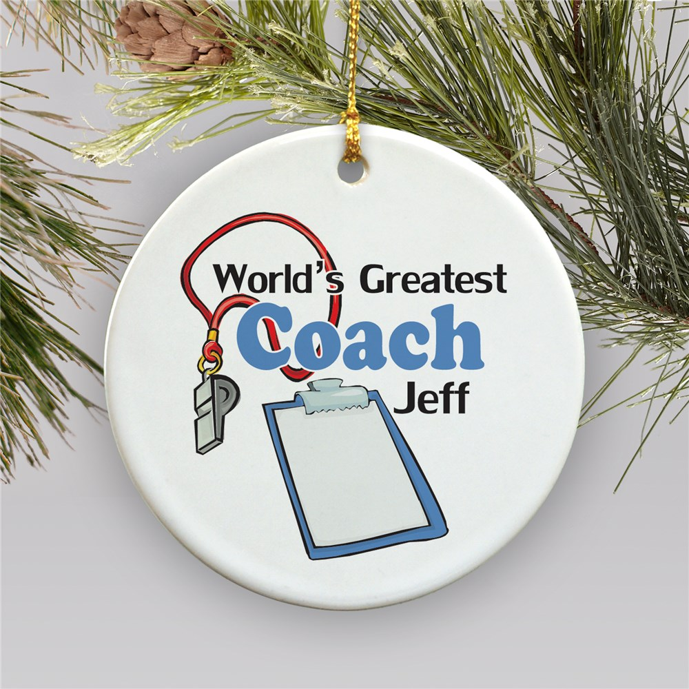 World's Greatest Coach Personalized Ceramic Ornament | Coach Christmas Ornaments