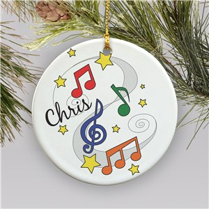 Personalized Music Notes Ornament | Ceramic | Kids Christmas Ornaments