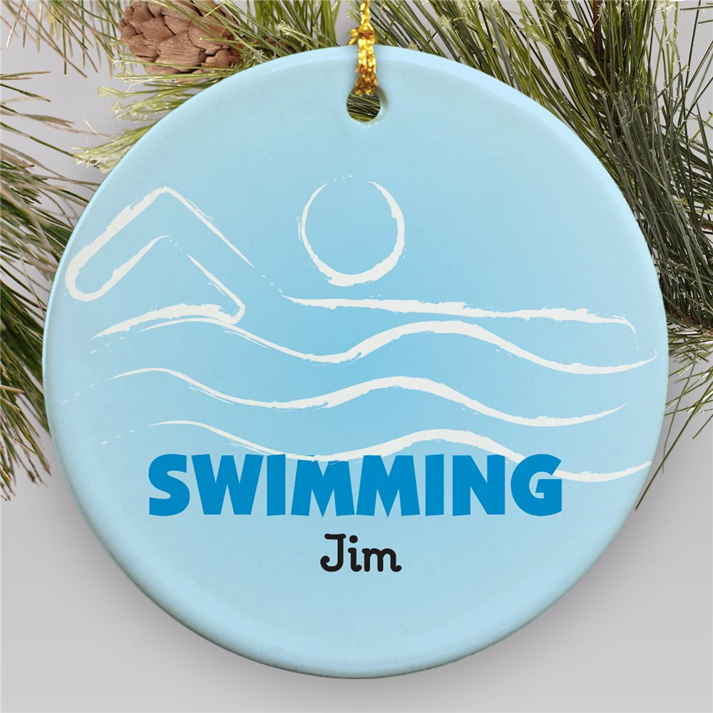Personalized Swimming Ceramic Ornament U376110