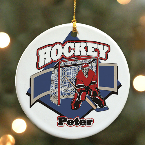 Personalized Ceramic Hockey Player Ornament | Personalized Hockey Ornaments