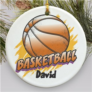 Personalized Ceramic Basketball Ornament | Personalized Basketball Ornament
