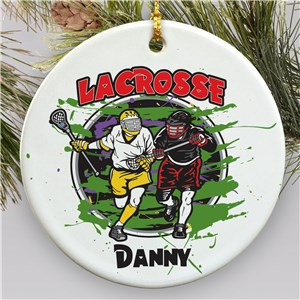 Personalized Ceramic Lacrosse Ornament U377510