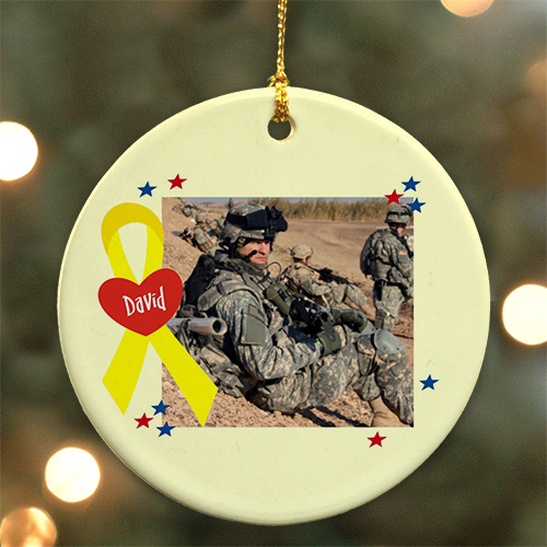 Personalized Ceramic Military Photo Ornament | Personalized Military Ornament