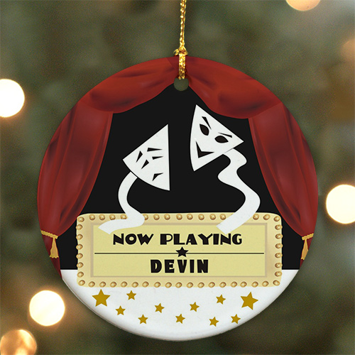 Personalized Ceramic Drama Mask Ornament | Theater Christmas Ornaments