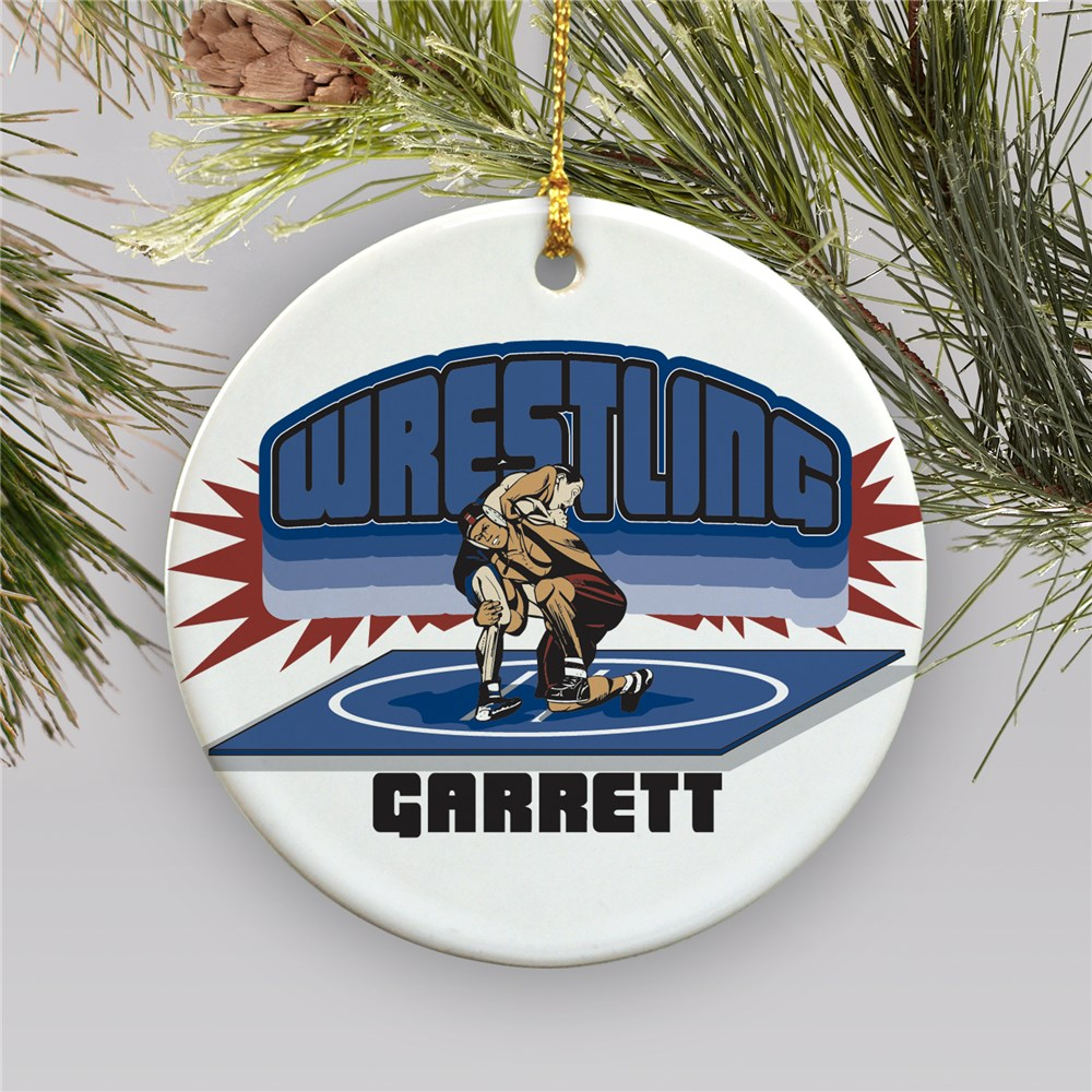 Personalized Ceramic Wrestling Ornament | Personalized Wrestling Ornaments