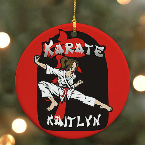 Personalized Ceramic Karate Ornament | Karate Christmas Ornament