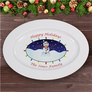 Personalized Ceramic Snowman Serving Platter | Personalized Christmas Decor