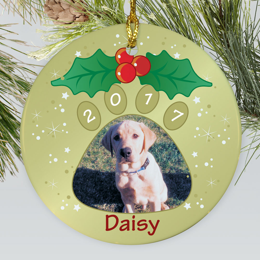 Personalized Ceramic Pet Photo Ornament | Personalized Pet Ornaments