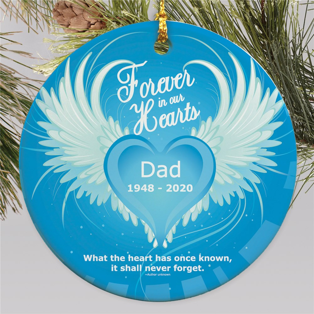 In Our Hearts Ceramic Memorial Ornament | Personalized Memorial Ornaments