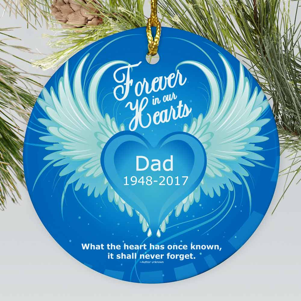 Personalized Ceramic Forever In Our Hearts Memorial Ornament | Personalized Memorial Ornaments