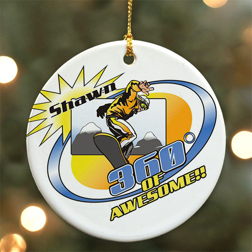 Personalized Ceramic Snowboarding Ornament U384510